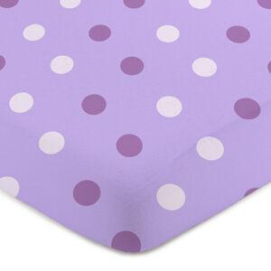 4Home Jersey prostěradlo Puntík fialová , 100 x 200 cm