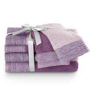 AmeliaHome Sada ručníků a osušek Aria fialová/švestková, 2 ks 30 x 50 cm, 2 ks 50 x 90 cm, 2 ks 70 x 140 cm