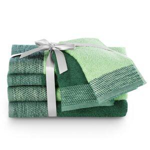 AmeliaHome Sada ručníků a osušek Aria tmavě zelená/pistáciová, 2 ks 30 x 50 cm, 2 ks 50 x 90 cm, 2 ks 70 x 140 cm