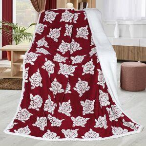 Bellatex Beránková deka Růže vínová, 150 x 200 cm