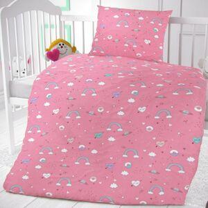 Kvalitex Dětské bavlněné povlčení do postýlky Obláčky růžová, 90 x 135 cm, 45 x 60 cm