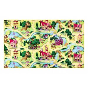 Vopi Dětský koberec Pohádková vesnice, 133 x 133 cm, 130 x 130 cm
