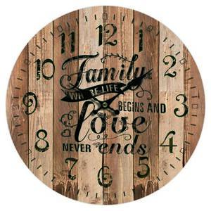 Dřevěné nástěnné hodiny Family love, pr. 34 cm