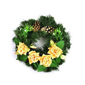 Dušičkový věnec se žlutými růžemi, 25 cm
