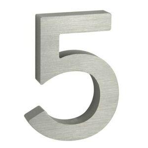 """Hliníkové číslo 5 v """"3D"""" provedení s broušeným povrchem. RICHTER RN.100LV.5.AL.3D"""