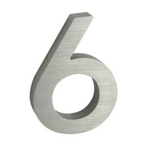 """Hliníkové číslo 6 v """"3D"""" provedení s broušeným povrchem. RICHTER RN.100LV.6.AL.3D"""