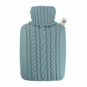 Hugo Frosch Termofor Classic s pleteným obalem pastelově modrý 1,8 l