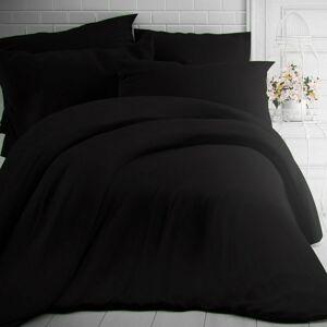 Kvalitex Bavlněné povlečení černá, 220 x 200 cm, 2 ks 70 x 90 cm