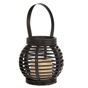 Lucerna s LED svíčkou Lucida, černá, 14 x 13 x 14 cm