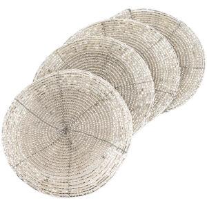 Prostírání z korálků stříbrná 10,5 cm, sada 4 ks
