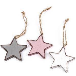 Sada dřevěných vánočních ozdob Klara Hvězda 8 cm, 3 ks