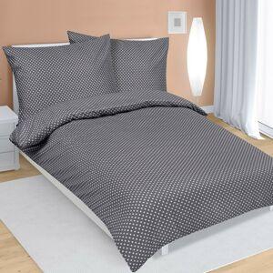 Bellatex Saténové povlečení Puntík šedá, 140 x 200 cm, 70 x 90 cm
