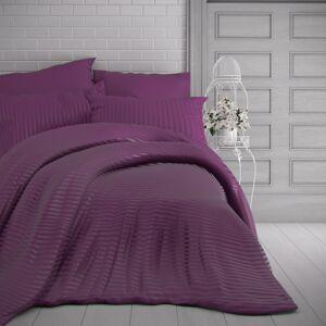 Kvalitex Saténové povlečení Stripe purpurová, 140 x 220 cm, 70 x 90 cm