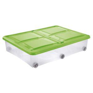 Tontarelli STOCKBOX 61L s víkem, kolečka transparent/zelená