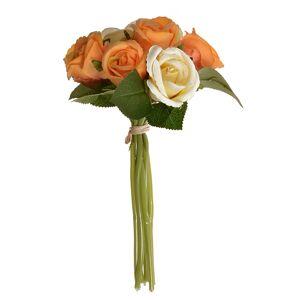 Umělá kytice poupat růže oranžová, 22 cm