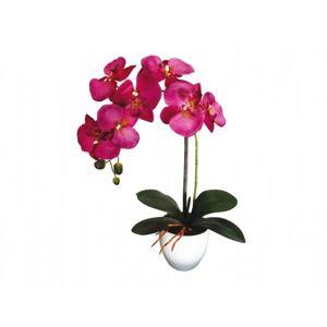 Umělá orchidej v květináči 7 květů, 55 cm, fialová