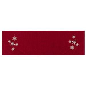 BO-MA Trading Vánoční běhoun Vločky červená, 40 x 140 cm