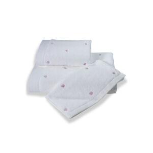 Soft Cotton Malé ručníky MICRO LOVE 32x50 cm Bílá / lila srdíčka